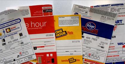 assorted film developing envelopes