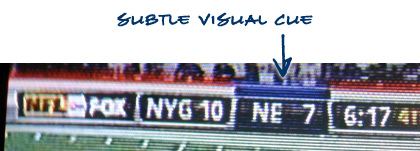 image showing how current offensive team is visually indicated in the ScoreBar